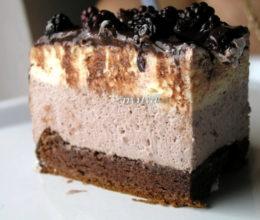 Tort cu mousse de ciocolata alba si mure